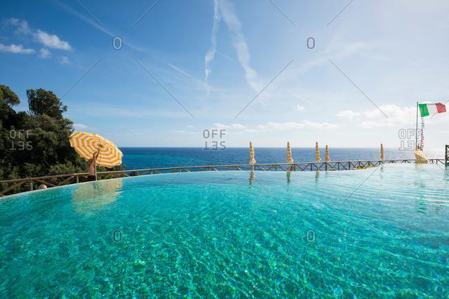Swimming pool and sea, Monterosso al Mare, Cinque Terre, La Spezia, Liguria, Italy