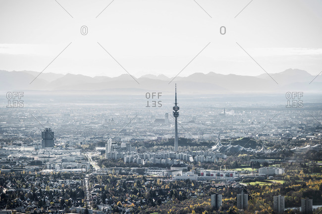 Aerial view of Munich with the Alps in background, Munich, Bavaria, Germany