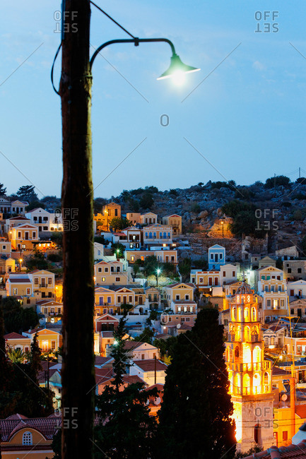 Gialos in the evening light, Symi Town, Symi, Dodecanese, South Aegean, Greece