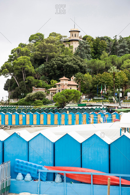 Beach huts, Lido, Santa Margherita Ligure, province of Genua, Italian Riviera, Liguria, Italy