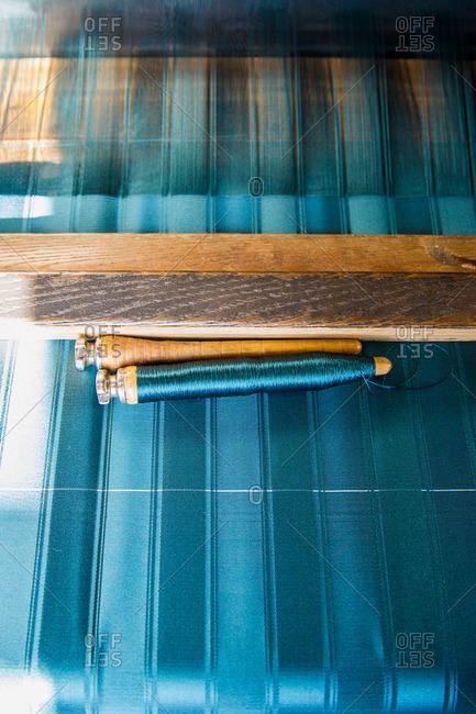 Weaving loom, production of damask, province of Genua, Italian Riviera, Liguria, Italy