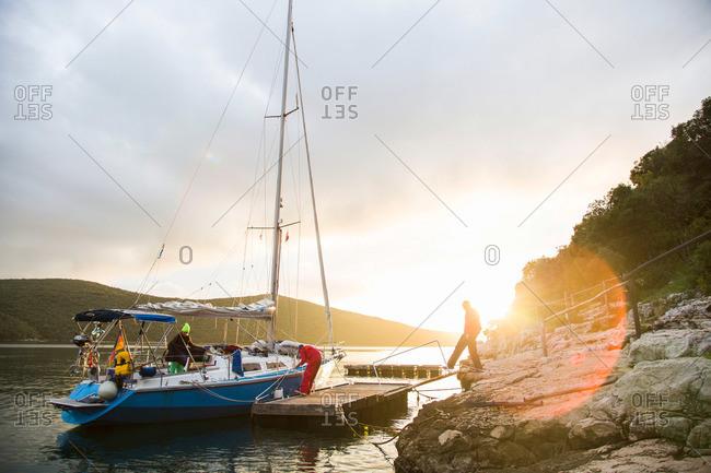 Sailing boat at a jetty, Lim canal, Istria, Croatia