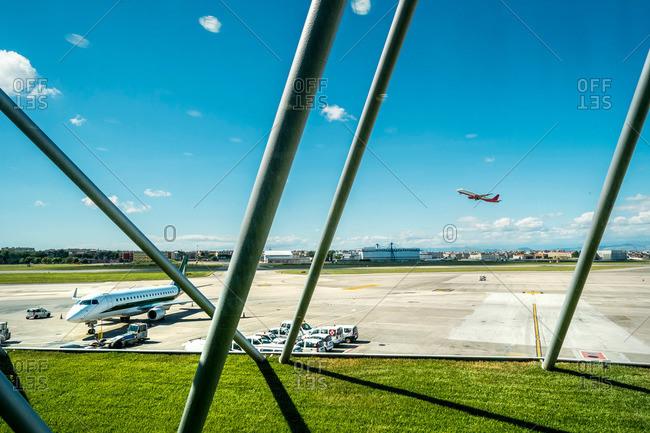 Runway at Naples airport, Naples, Campania, Italy