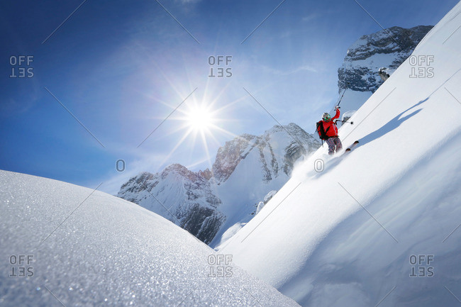 Man downhill skiing from Zugspitze, Upper Bavaria, Germany