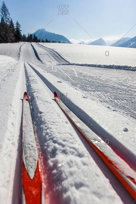 Skis in cross country ski track, Styria, Austria