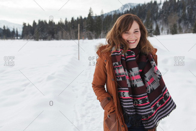 Laughing young woman, Spitzingsee, Upper Bavaria, Germany