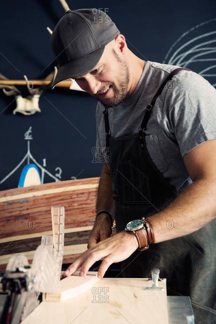Designer working in his workshop