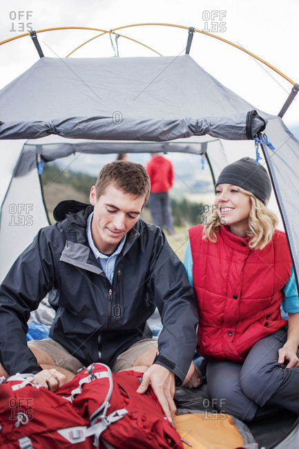 Couple sitting in their tent
