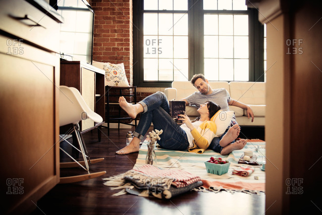 Couple relaxing at home