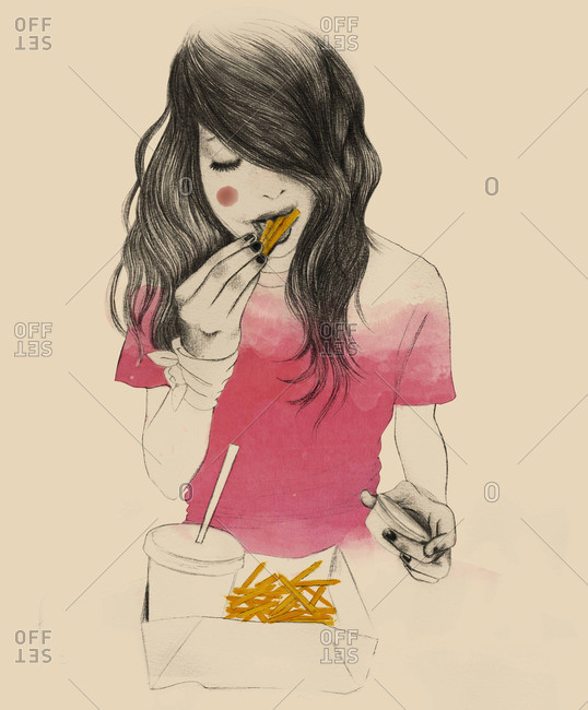 Young woman eating French fries