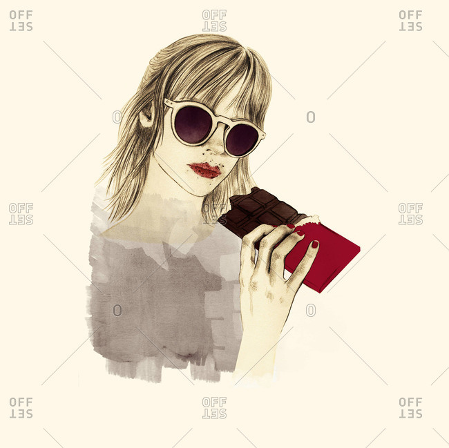 Young woman a chocolate bar