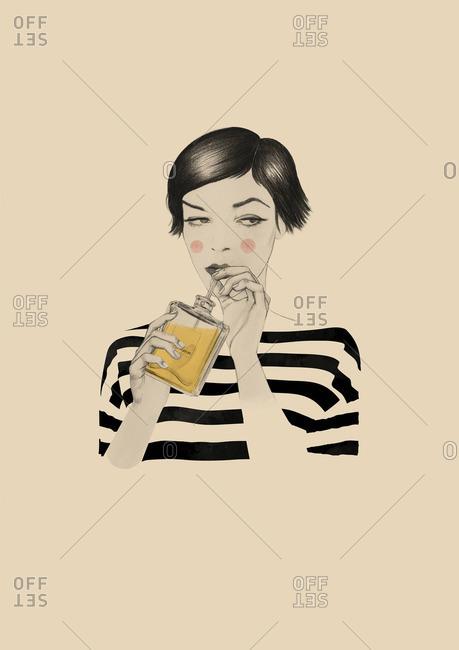 Woman drinking perfume through a straw