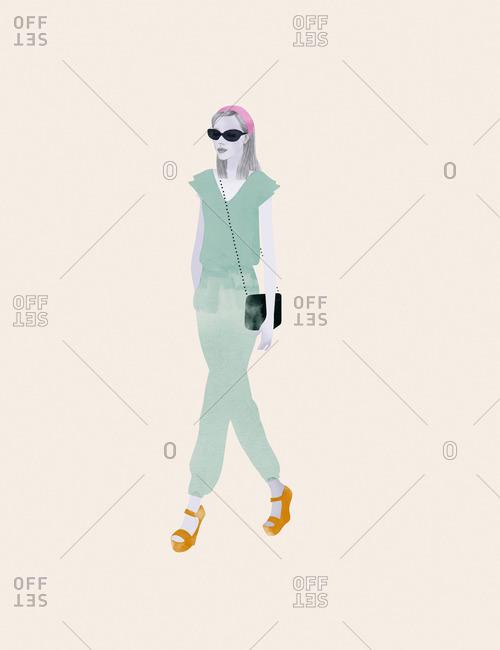 Fashionable woman wearing sunglasses