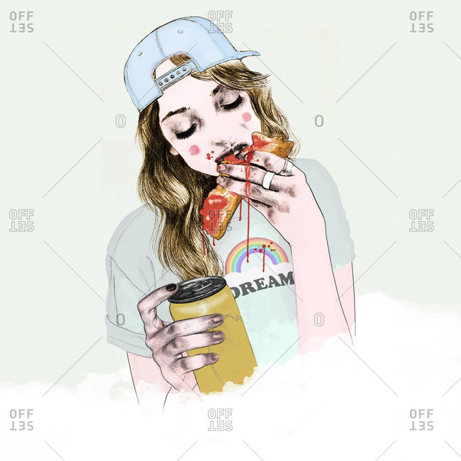 Girl eating a messy slice of pizza