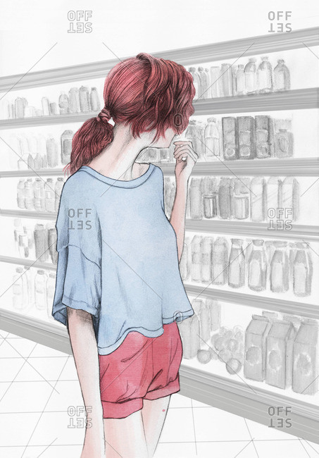 Young woman in a grocery store