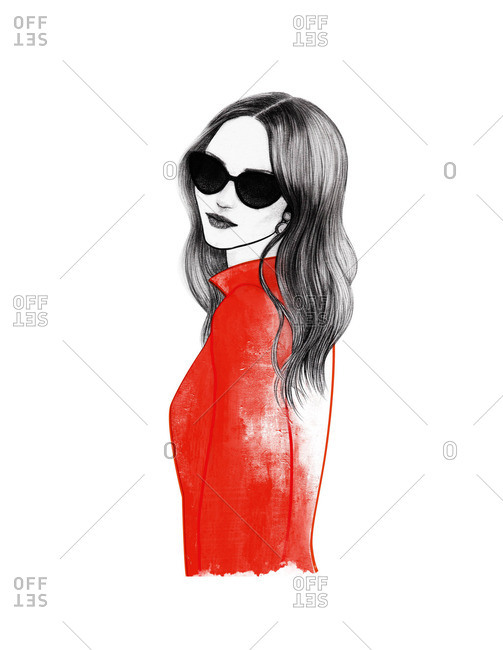 Young woman in red wearing sunglasses