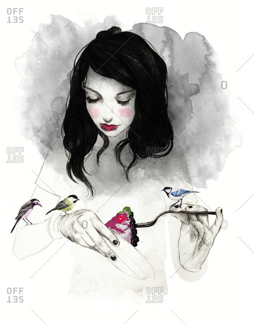 Young woman with pie and birds