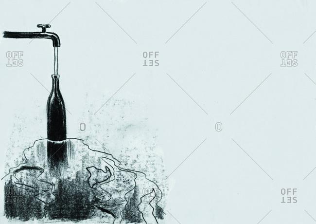 Faucet overfilling a bottle