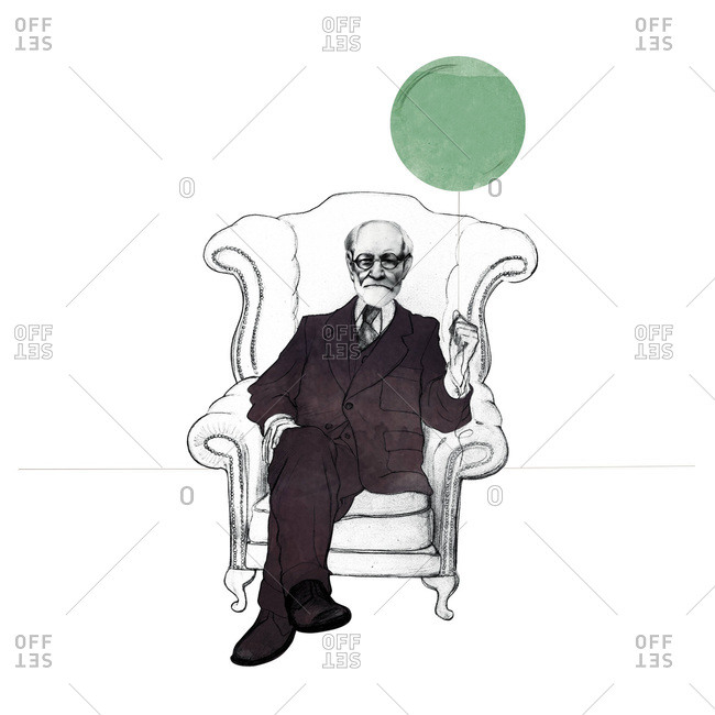 Sigmund Freud in a chair holding a balloon