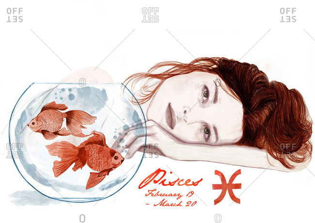 Redhead with a fish bowl and zodiac sign