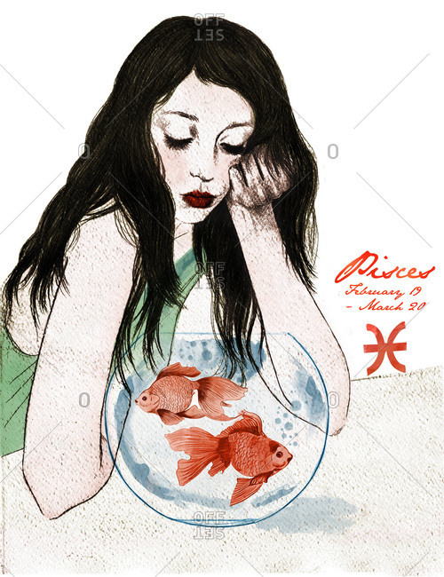 Woman with a fish bowl and zodiac sign