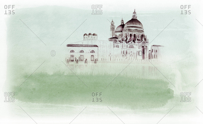 Drawing of a historical building