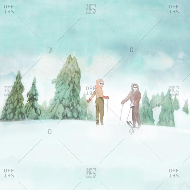 Women cross country skiing