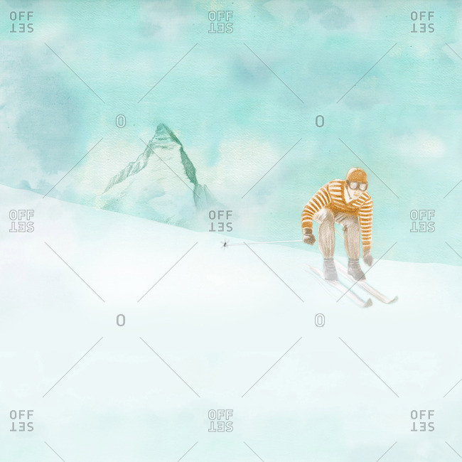 Old fashioned down hill skier