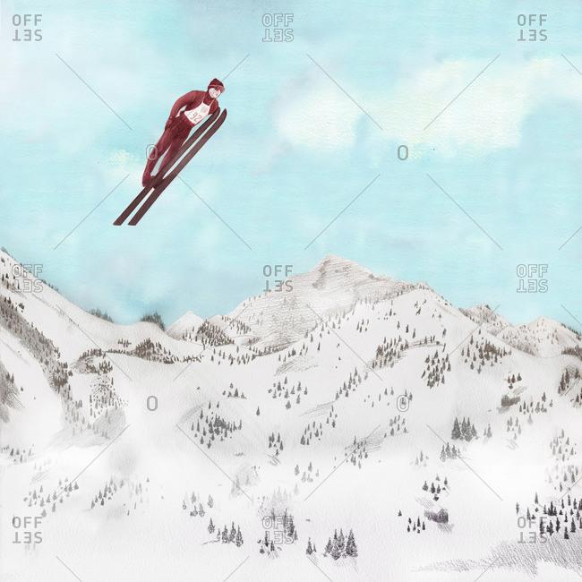 Competitive ski jumper in the air