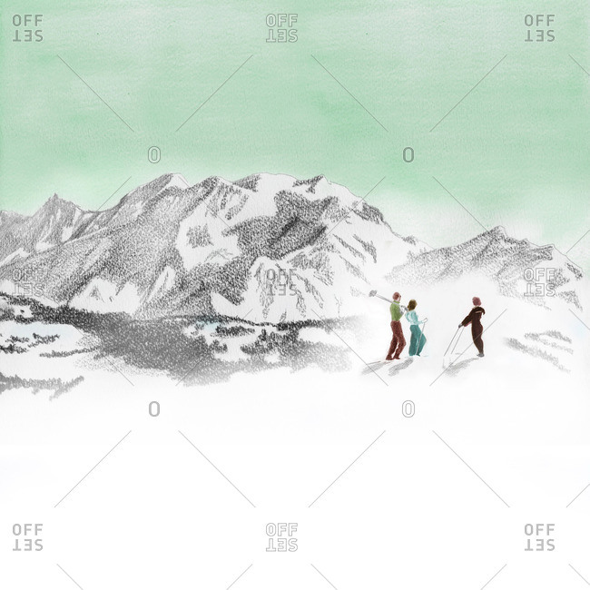 Group of skiers and mountains