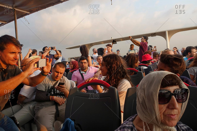Istanbul, Turkey - August 3, 2015: Tourists on boat trip in Turkey
