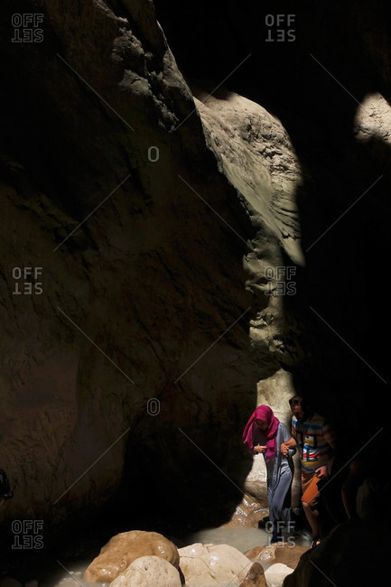 Saklikent Tlos Yakapark, Turkey - August 19, 2015: Tourists with map in a canyon in Turkey