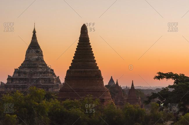 Temples of Bagan in the purple pre-dawn light, Bagan, Myanmar