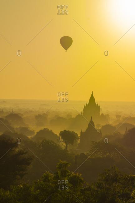 Hot air balloons rising over the temples of Bagan, Myanmar