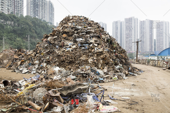 Refuse and steel pile outside Chongqing, China