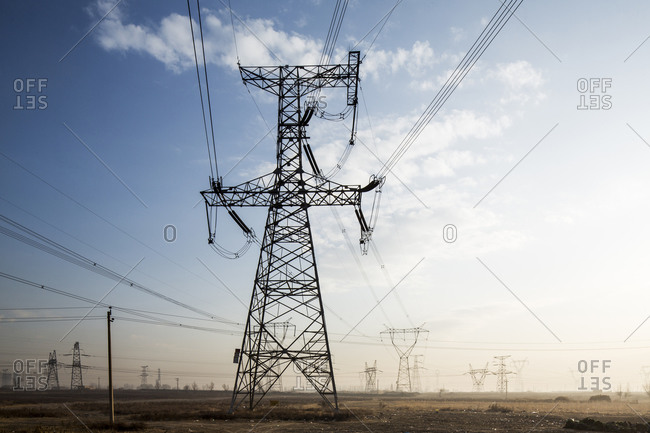 Electrical lines from coal-fired power plant, Chongqing, China