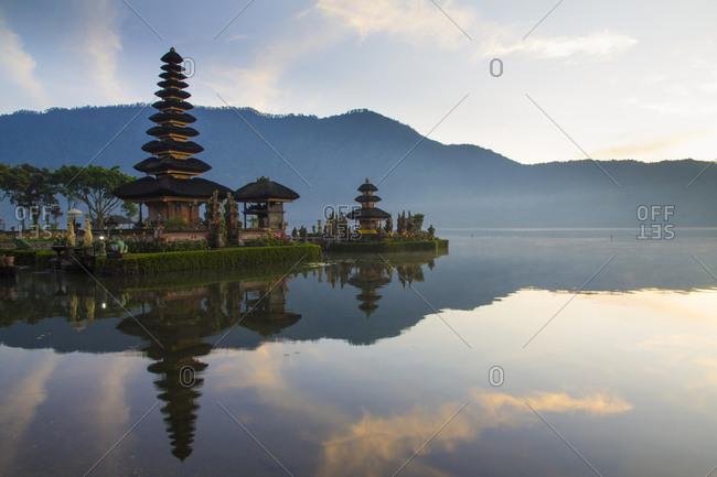 Sunrise at Bali water temple landscape, Ulun Danu Temple in Lake Bratan, Bali, Indonesia