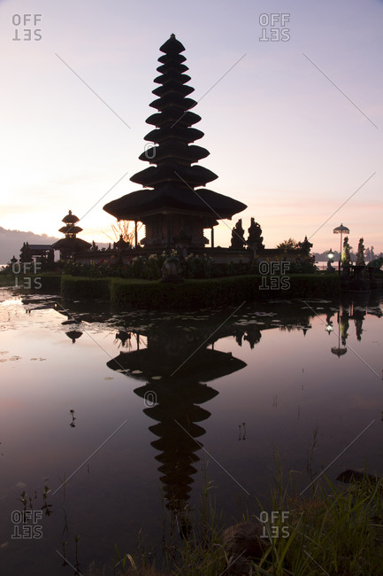 Sunrise at Bali water temple, Ulun Danu Temple in Lake Bratan, Bali, Indonesia