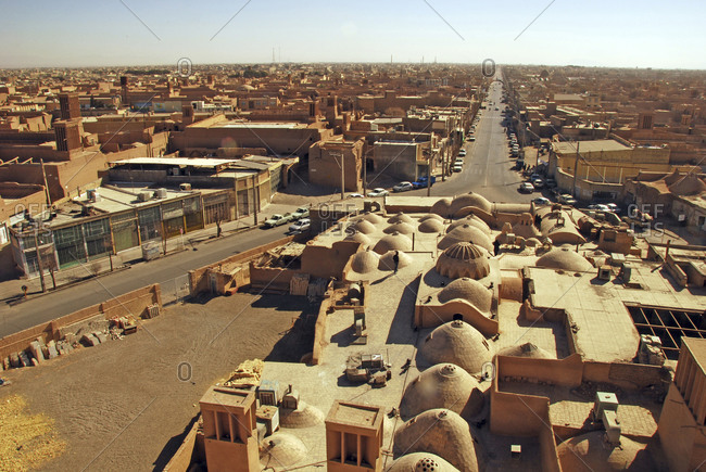 Aerial View of the city with its mosques, domes, minarets and windtowers, Yazd, Iran