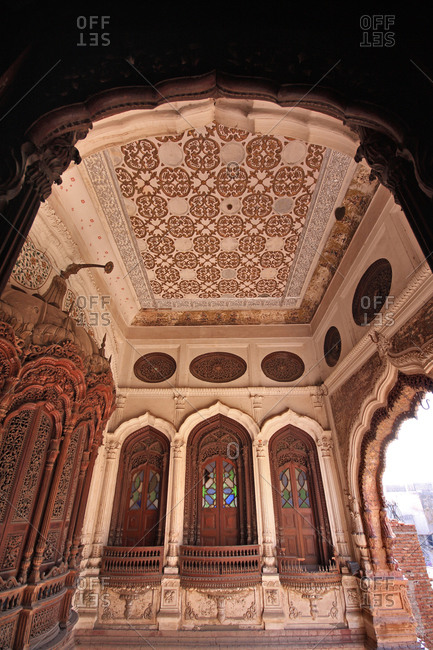 The beautiful wooden work in Chiniot Palace, Chiniot, Pakistan