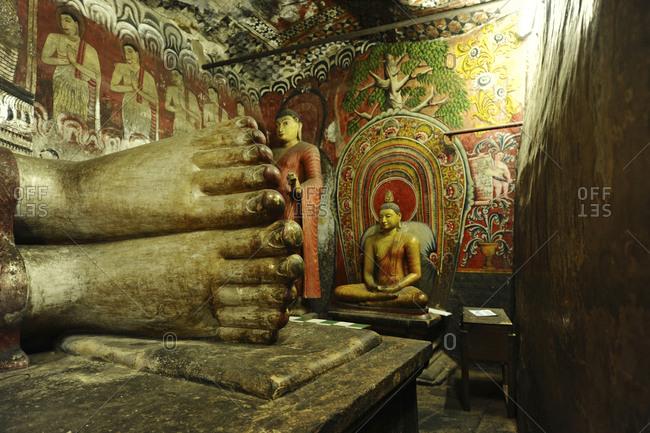 Buddha toes in the Dambulla Cave Temple, Dambulla, Sri Lanka
