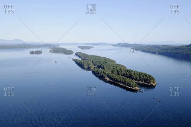 Arial view of Wallace Island Marine Provincial Park looking north, Wallace Island, Gulf Islands, British Columbia, Canada