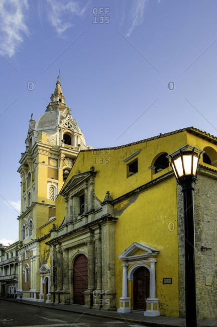 The Cathedral of Santa Catalina de la Alejandria looks over the Plaza de Bolivar in the Old City (Cuidad vieja) of Cartagena, Bolivar, Colombia