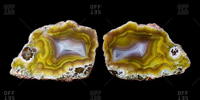 Piece of agate quartz in half, Quartzsite, Arizona, USA