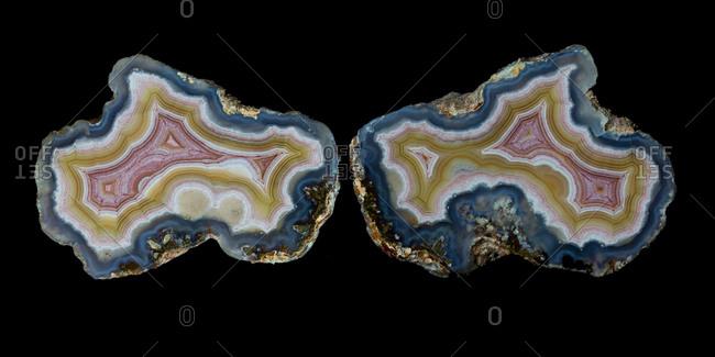 Piece of agate quartz cut in half, Quartzsite, Arizona, USA