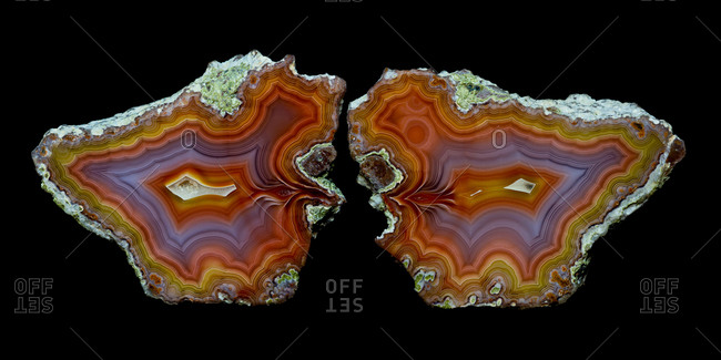 Piece of agate quartz halved, Quartzsite, Arizona, USA