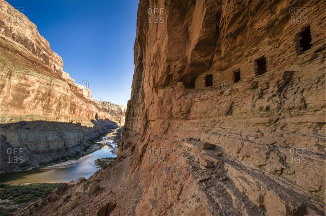 View from the Anasazi ruins, Nankoweap Granaries, Colorado River, Grand Canyon, Arizona, USA