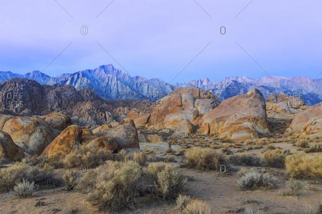 View of Lone Pine Peak and Mount Whitney, Alabama Hills, California, USA