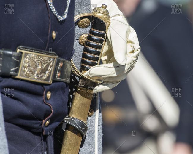 Civil war soldier wearing sword, Brooksville, Florida, USA
