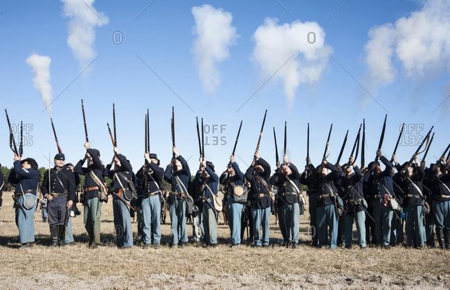 Civil War soldiers shooting re-enactment, Brooksville, Florida, USA